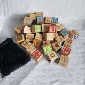 Other - Wooden Alphabet Classic Building Blocks Set Toy